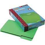Smead CutLess® File Folder, 3 Tab, Legal Size, Green, 100/Box (17143)