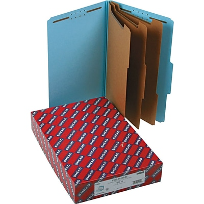 Smead® Pressboard Classification Folder with SafeSHIELD® Fasteners, 3 Dividers, 3 Exp, Legal Size, Blue, 10 per Box (19094)