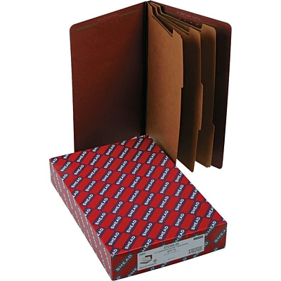 Smead® Pressboard End-Tab Classification Folders, 8-Fasteners, 3-Partitions, Legal, Red, 10/Bx (29865)