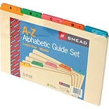 Smead File Guides, A-Z, Manila with Vinyl Tabs, 1/5 Cut, 5 Colors, Legal,, 25/St