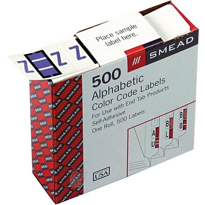 Smead BCCR Bar-Style Color-Coded Alphabetic Label, Z, Label Roll, Lavender, 500 labels per Roll, (67096)