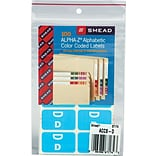 Smead AlphaZ ACCS Hand Written Identification & Color Coding Label, 1 5/8 x 1, Light Blue w/White,
