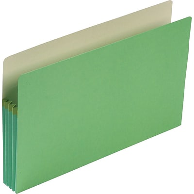 Smead® Straight Cut File Pocket, 3-1/2 Expansion, Legal, Green (74226)