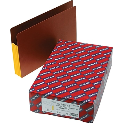 Smead® End Tab Pocket, Reinforced Straight-Cut Tab, 3-1/2 Exp, Extra Wide Legal, Redrope with Yellow Gusset, 10 per Box (74688)