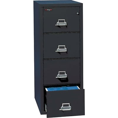 FireKing® 4-Drawer Fireproof Vertical File Cabinet, Black, Letter (4-1831-CBL)