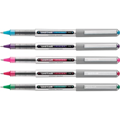 uni-ball® Vision™ Rollerball Pens, Fine Point, Assorted, 5/Pack