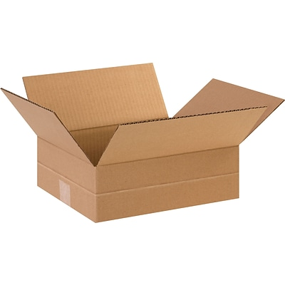 12 x 10 x 4 Multi-Depth Shipping Boxes, Brown, 25/Bundle (MD12104)