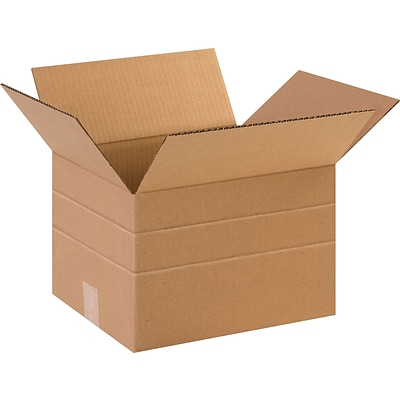 12 x 10 x 8 Multi-Depth Shipping Boxes, Brown, 25/Bundle (MD12108)