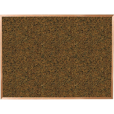 Best-Rite Blue Splash Cork Bulletin Board, Oak Finish Frame, 8 x 4