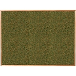 Best-Rite Green Splash Cork Bulletin Board, Oak Finish Frame, 4 x 4