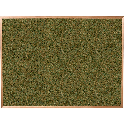 Best-Rite Green Splash Cork Bulletin Board, Oak Finish Frame, 3 x 2
