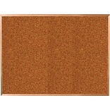 Best-Rite Red Splash Cork Bulletin Board, Oak Finish Frame, 12 x 4
