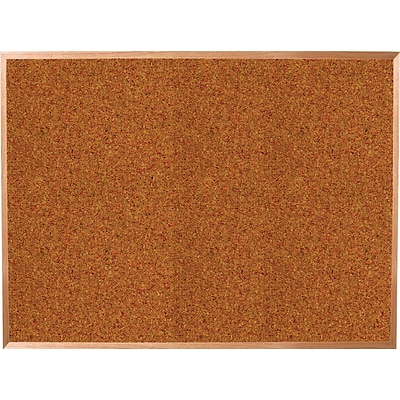 Best-Rite Red Splash Cork Bulletin Board, Oak Finish Frame, 10 x 4