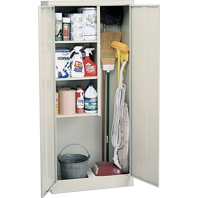 Sandusky Janitorial Supply Storage Cabinets, Putty