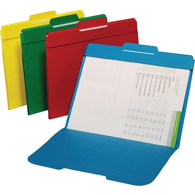 Staples® Secure Colored File Folders; Letter, 3 Tab, Center Position, 50/Box