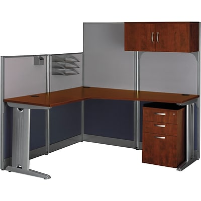 Bush Business Office in an Hour 65W x 65D L-Workstation w/ Storage and Accessory Kit, Hansen Cherry