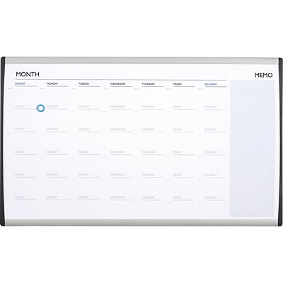 Quartet® Arc™ Cubicle Whiteboard Calendar, 30 x 18, Magnetic, Aluminum Frame