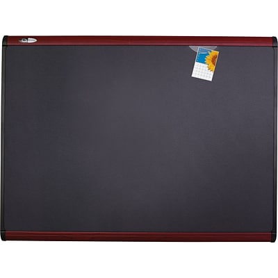 Quartet® Prestige Plus® Magnetic Fabric Bulletin Board, 4 x 3, Mahogany Frame