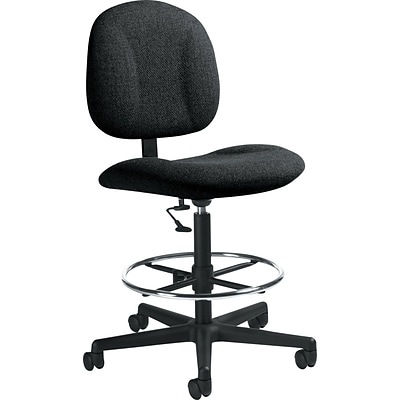 Global Deluxe Low-Back Fabric Drafting Chair, Armless, Black