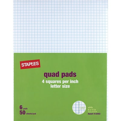 Staples Graph Pads, 8.5 x 11, Graph, White, 50 Sheets/Pad, 6 Pads/Pack (51301/18606STP)