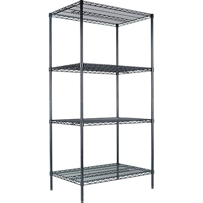 Alera® Industrial Wire Shelving Starter Set, 36Wx24D, Black