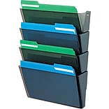 Deflecto Stackable DocuPocket® 4-Pocket Files, Letter-Size, Smoke, 7H x 13W x 4D, 4/Pk