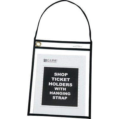 C-Line Shop Ticket Holders with Clear Front/Back, Black Stitching/Strap, 15/Bx