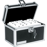 Vaultz™ Locking Index Card Box, 550-Card Capacity, 5 x 8, Black