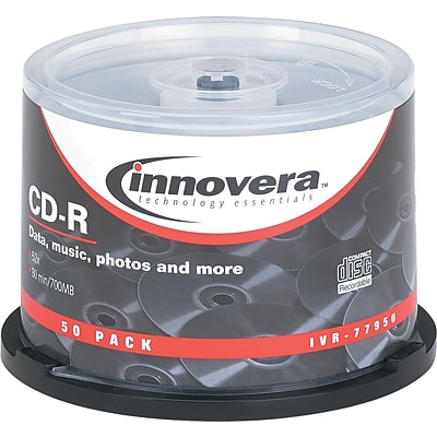 Innovera® CD-R, 80 Min./700MB, 52x, Spindle, 50-Pack