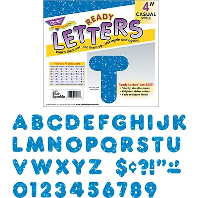 Trend Sparkle Uppercase Ready Letters®, 4, Blue, 1/Set (T1617)