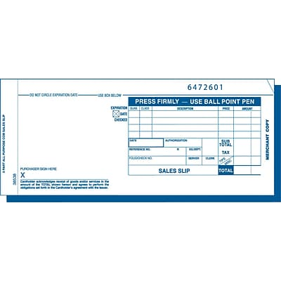 TOPS® Credit Card Sales Receipt, Ruled, 3-Part, White, 7 7/8 x 3 1/4