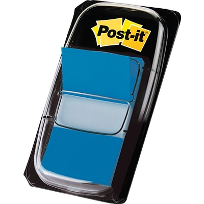 Post-it® Flags with Pop-Up Dispenser, 1 Wide, Blue, 100 Flags/Pack (680-BE2)