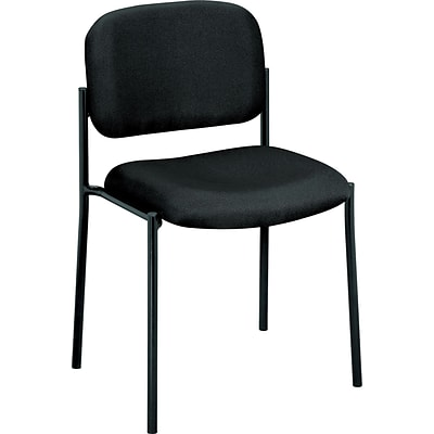 basyx by HON® VL606 Stacking Armless Guest Chair, Fabric, Black, Seat: 19W x 17 1/2D, Back: 18 1/2W x 14 3/4H