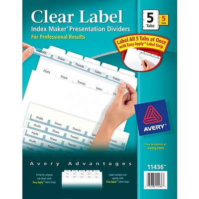 Avery® Index Maker® Clear-Label Dividers, White, 5 Tabs