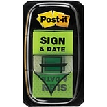 Post-it® Sign and Date Message Flags, 1 Wide, Green, 100 Flags/Pack (680-SD2)