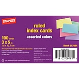 Staples Index Cards, 3 x 5, Ruled, Assorted Colors (40280)