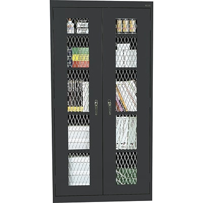 Sandusky Stationary Metal Front Cabinet, Black, 72H x 46W x 24D