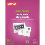Staples® Laser Matte Postcards; White, 100/Pack (14635-CC)