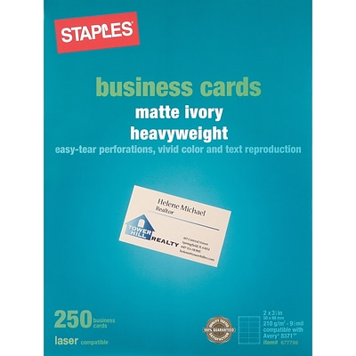 Staples® Laser Business Cards; Matte Ivory, 250/Cards