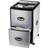 Storex Two-Drawer Mobile File Cabinet with Lock, Metal Accent Panels (61352B01C)