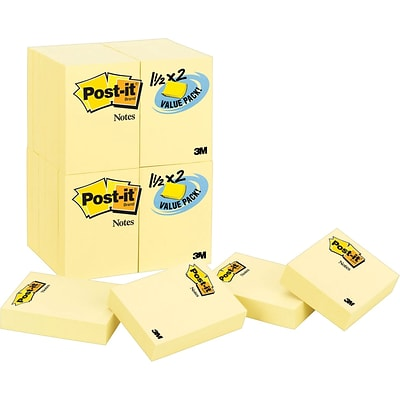 Post-it® Notes Value Pack, 1 1/2 x 2, Canary Yellow, 24 Pads/Pack (653-24VAD-B)