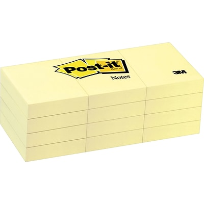Post-it® Notes, 1 3/8 x 1 7/8, Canary Yellow, 12 Pads/Pack (653-YW)