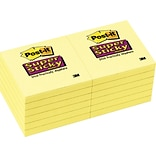 Post-it® Super Sticky Notes, 3 x 3, Canary Yellow, 12 Pads/Pack