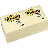 Post-it® Notes, 3 x 3, Canary Yellow, 12 Pads/Pack (654-12YW)