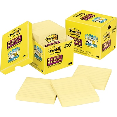 Post-it® Super Sticky Notes, 4 x 4, Canary Yellow, Lined, 12 Pads/Pack (67512SSCP)