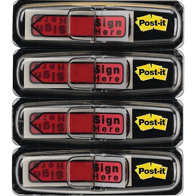Post-it® Sign Here Message Flags, 1/2 Wide, Red, 80 Flags/Pack (684-RDSH)