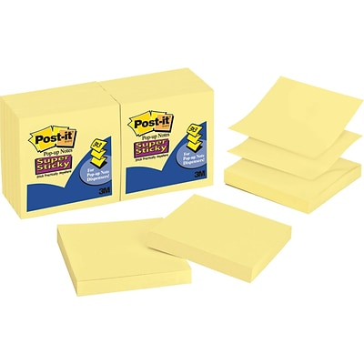 Post-it®, Super Sticky Pop-up Notes, 3 x 3, Canary Yellow, 12 Pads/Pack (R330-12SSCY)