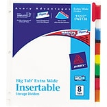 Avery® Big Tab™ Extra Wide Insertable Dividers, 8-Tab, Multicolor, 9 1/4 x 11 1/8, 1/St