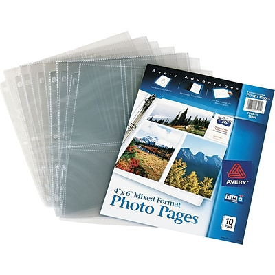 Photo Pages for Six 4 x 6 Mixed Format Photos, 3-Hole Punched, 10/Pack