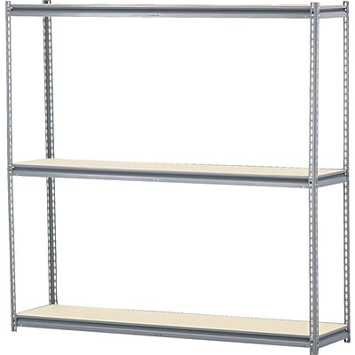 Edsal 16 Gauge Wide Span Boltless Shelving, 3 Shelves, Gray, 72H x 72W x 18D